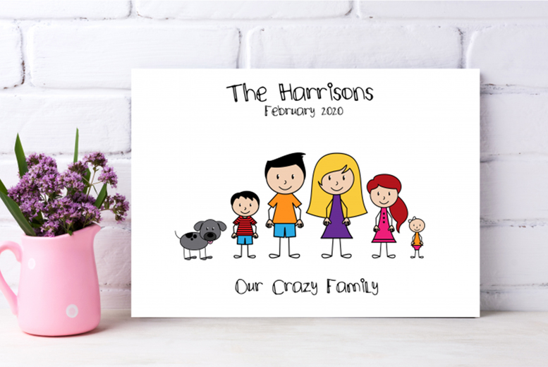 Image of From £7.95 for a personalised stick family canvas from Colour House