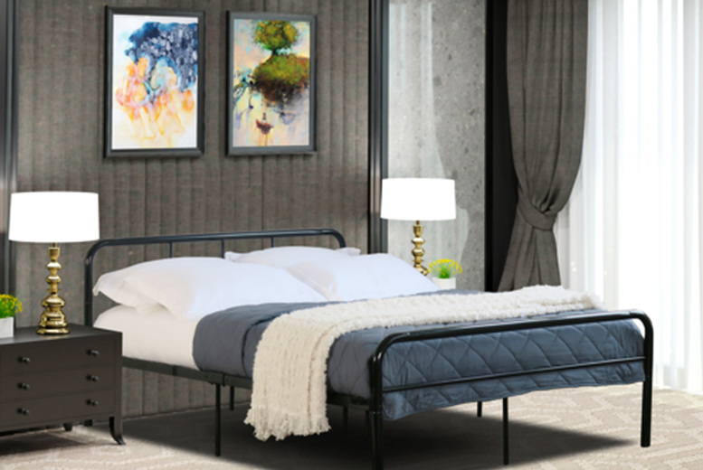 Image of £39 instead of £149.99 for a single metal bed frame or £59 for a double bed frame from Bedsstar - save up to 74%
