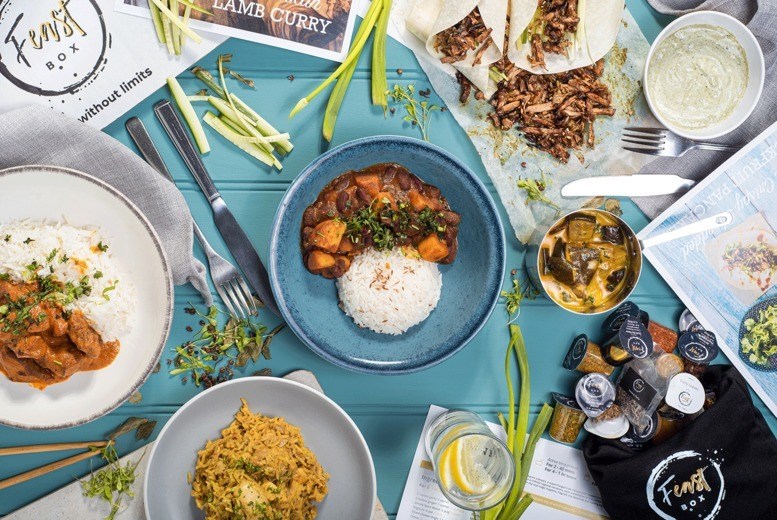 Image of £18 instead of £29.68 for three vegan recipes each for two people from Feast Box including delivery - receive three meals direct to your door and save up to 39%