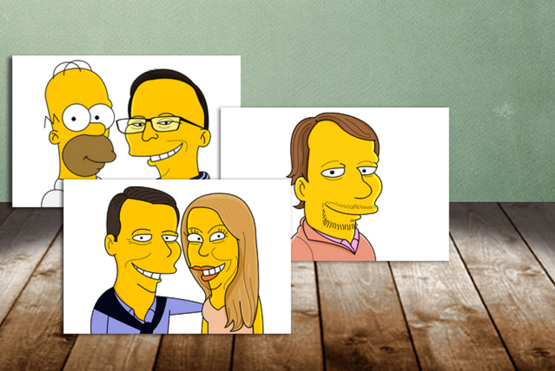 Image of From £14.99 for a hand-drawn personalised digital cartoon portrait from CartoonKart, or from £36.90 for a printed version - see yourself and loved ones transformed in to The Simpsons characters, and save up to 35%