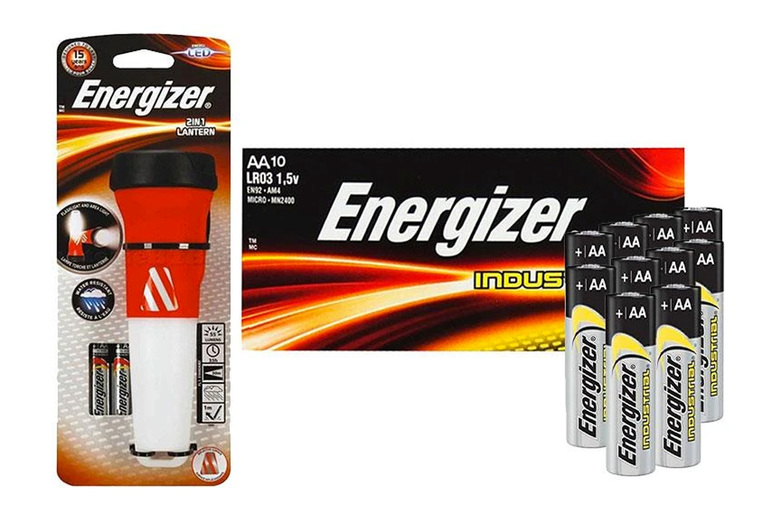 Image of £11.99 for an Energizer 2-in-1 lantern torch with two AA batteries plus a pack of 10 industrial alkaline AA batteries from Avant Garde