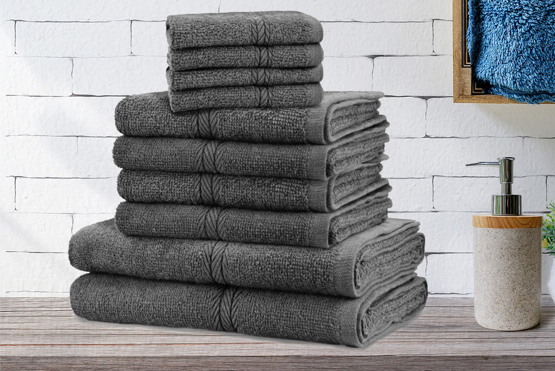 Image of £13.99 instead of £39.99 for a 10-piece towel bale set in aqua, black, blue, blush pink, charcoal, purple, red magenta, silver, teal or white from Fusion Online!- save 65.02%