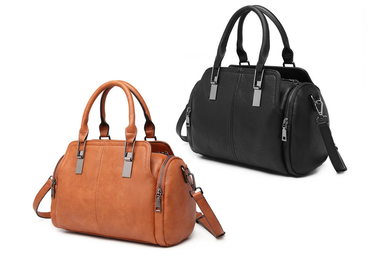 Image of £14.99 for a Miss Lulu leather everyday bowler bag from Miss Lulu!