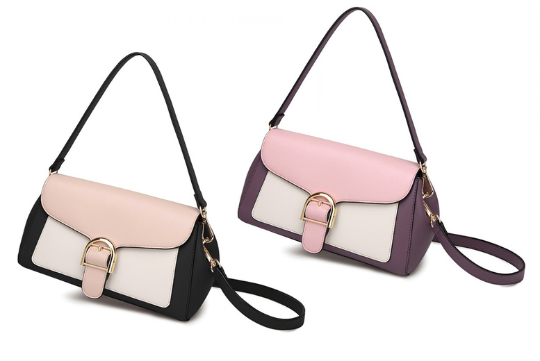 Image of £13.99 for a Miss Lulu tri-colour shoulder bag in black and khaki or purple and pink from Lulu Bags!