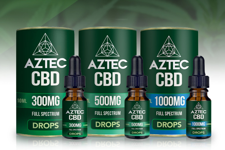 Image of From £19.99 instead of £39.99 for a 10ml bottle of CBD oil drops from Aztec - choose from 300mg, 500mg or 1000mg and save up to 50%