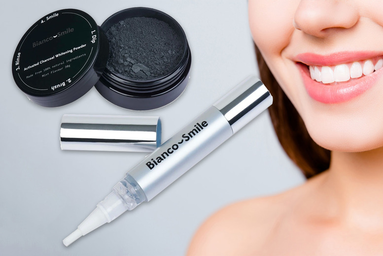 Image of £6.99 for a teeth whitening gel pen, £16.99 for two pens, £6.99 for one charcoal powder or £9.99 for two powders from Bianco Smile