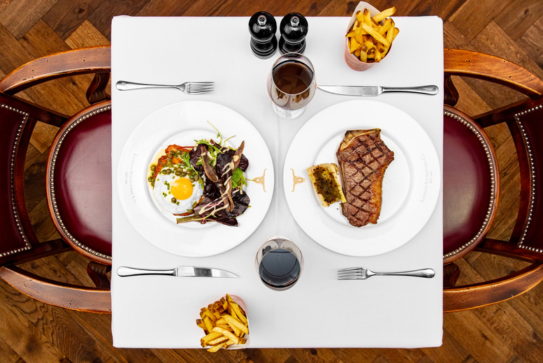 Image of £45 instead of £97.50 for two-course dining for two at London Steakhouse Co. by Marco Pierre White, London Spitalfields, including a cocktail each - save 54%
