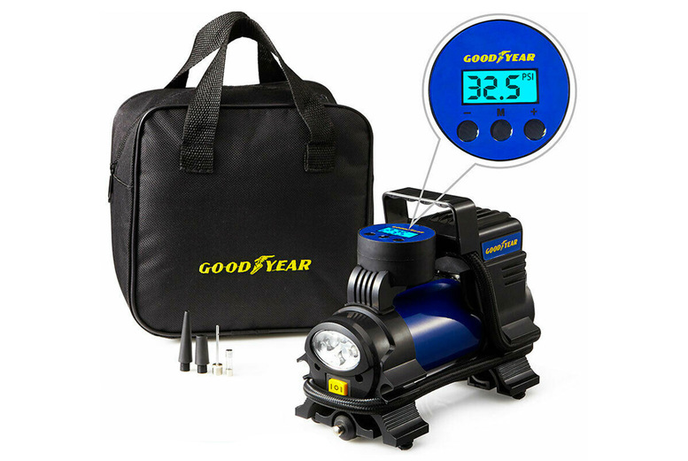 Image of £34 instead of £99.99 for a Goodyear digital car tyre air inflator from Vivo Mounts - save 66%