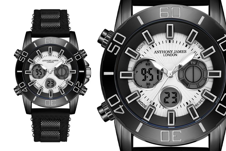 Image of £29.99 for an Anthony James black sports watch from Timepieces!
