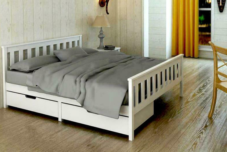 Image of From £99 instead of £199.99 for a wooden storage bed frame in single, small double or double sizes, or from £189 for a bed frame and memory sprung mattress from Buyer Empire - save up to 50%