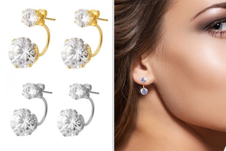 Image of €14 instead of €56.15 for a pair of solitaire drop earrings with white gold or yellow gold plating from Bucks Trading - save 75%