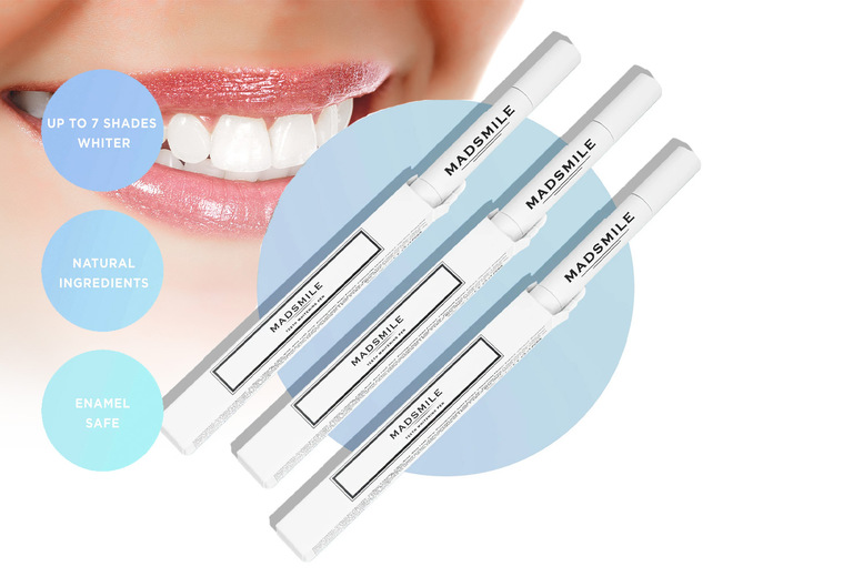 Image of £5.99 instead of £15.99 for a teeth whitening pen or £10.99 for a three-pack of teeth whitening pens from Madsmile – save up to 63%