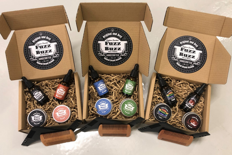 Image of £21.99 instead of £44.99 for a choice of beard oil and balm gift set from Fuzz Buzz - choose from three options and save 51%