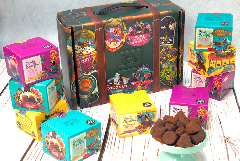 Image of £25 instead of £40 for a Valentines Monty Bojangles 3-Flavour Chocolate Truffle Trunk from Monty Bojangles - enjoy 100 truffles and save 38%