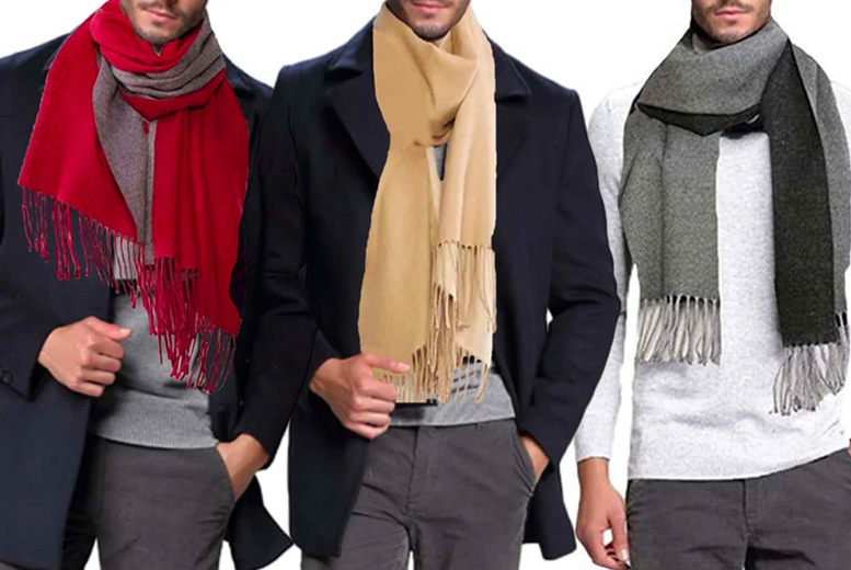 Image of £12.99 instead of £40 for a men's soft two-tone scarf in black/grey, wine/grey or camel/beige from Boni Caro - save 68%