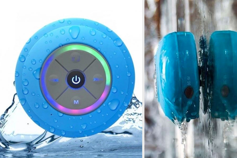 Image of £9.99 instead of £29.99 (from Arther Gold) for a multi-colour LED Bluetooth shower speaker with suction cup - Save 69%