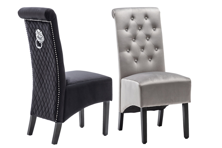 Image of £249 instead of £420 for a pair of velvet upholstered chairs with lion knocker backs from Modernique Furniture - save 41%