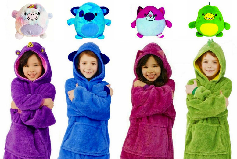 Image of £12.99 for a kids' wearable snuggle pet hoodie in red, purple, green or blue from Topgoodchain - turns from a cuddly toy into a soft hoodie!