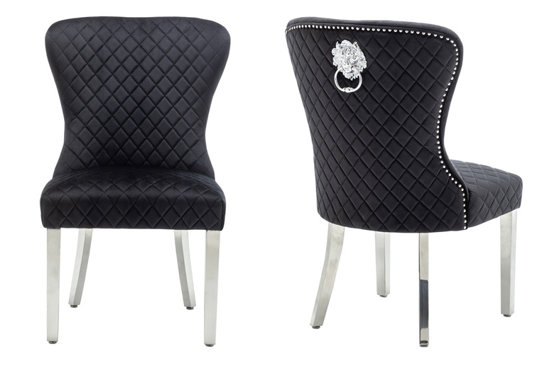 Image of £335 instead of £549 for a pair of Bianca velvet upholstered chairs with lion knocker backs from Modernique Furniture - save 39%