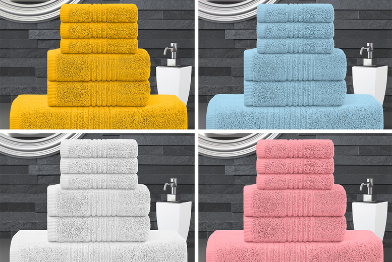 Image of £12.99 instead of £39.99 for a six piece zero twist towel bale in blush pink, duck egg, grey, mustard, silver or white from Bliss Home Living - save 68%