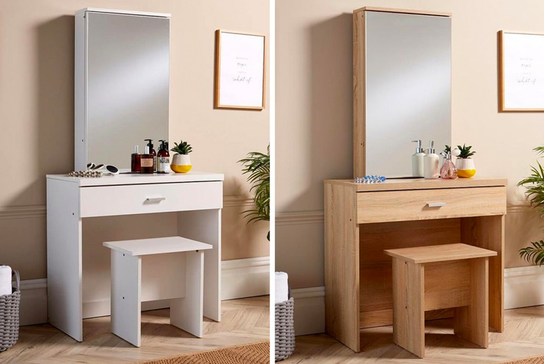 Image of £69 for a dressing table with sliding mirror and stool in Sonoma oak or white colours from Furniture Dealz!