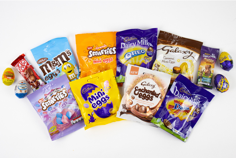 Image of £9.99 for a 10-piece chocolate Easter egg hamper from GB Gifts - enjoy a random assortment of delicious treats like Cadbury Mini Eggs, Kit Kat Bunnies and Galaxy Enchanted Mini Eggs