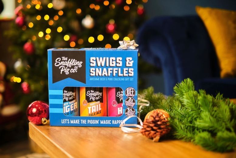 Image of £14 instead of £21 for a Swigs & Snaffles gift set bundle including beer and crackling from Snaffling Pig - enjoy crackling and beer and save 33%