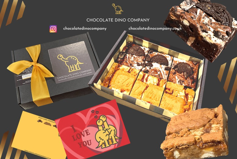 Image of £12 instead of £19.95 for a six-piece Biscoff & Oreo Brownies Gift Box from Chocolate Dino Company - save 40%