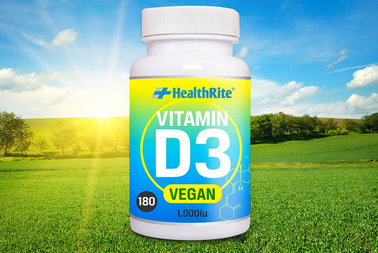 Image of £10.99 instead of £24.99 for a six month supply* of Healthrite Vitamin D3 tablets from Healthrite! - save 56%