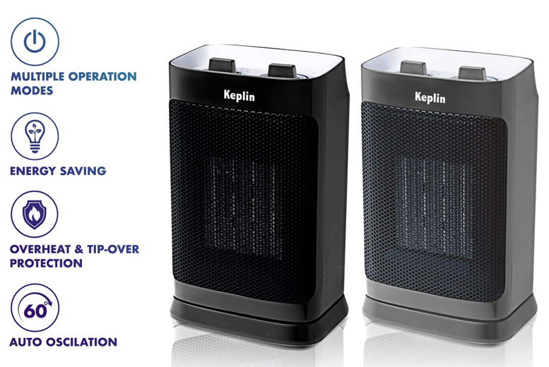 Image of £29.99 instead of £79.99 for a Keplin ceramic electric fan heater in black or grey from Blackfeather - save 63%