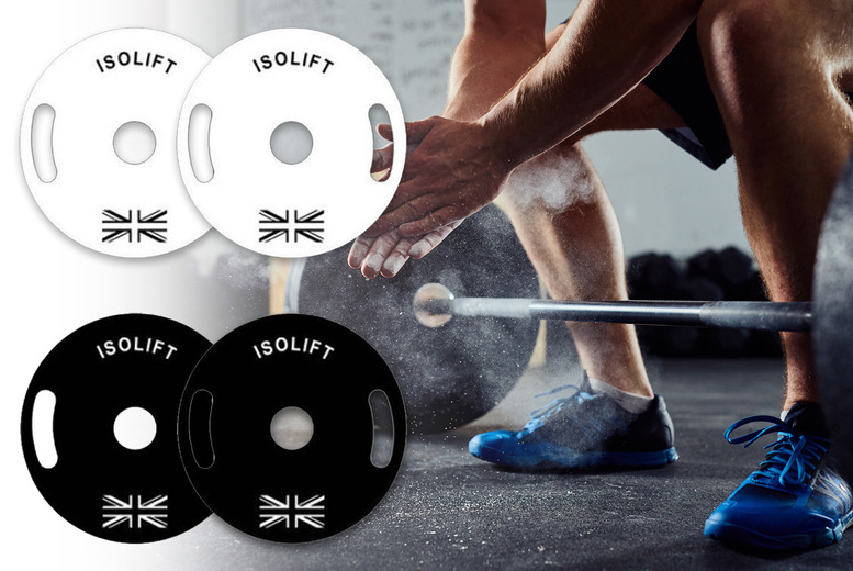 Image of £45 instead of £100 for a pair of 5kg powder coated plates in black or white from Iso Lift - save 55%
