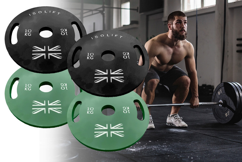Image of £89 instead of £150 for a pair of 10kg powder coated Olympic plates in green or black from Isolift - save 41%