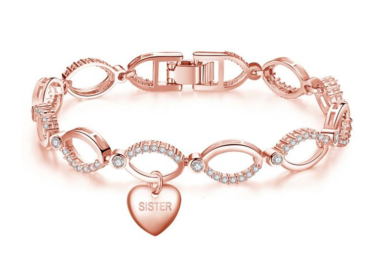 Image of £11.99 for a sister heart bracelet made with crystals from Swarovski ® from Gemnations!
