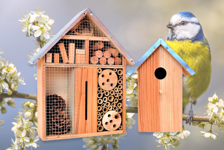 Image of £19.99 instead of £49.99 for a small wooden bug hotel and wooden bird box, £24 for a large size, from Anything 4 Home - save up to 60%