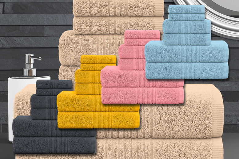 Image of £16.99 instead of £39.99 for a six piece plush towel collection from Bliss Home Living - save 58%