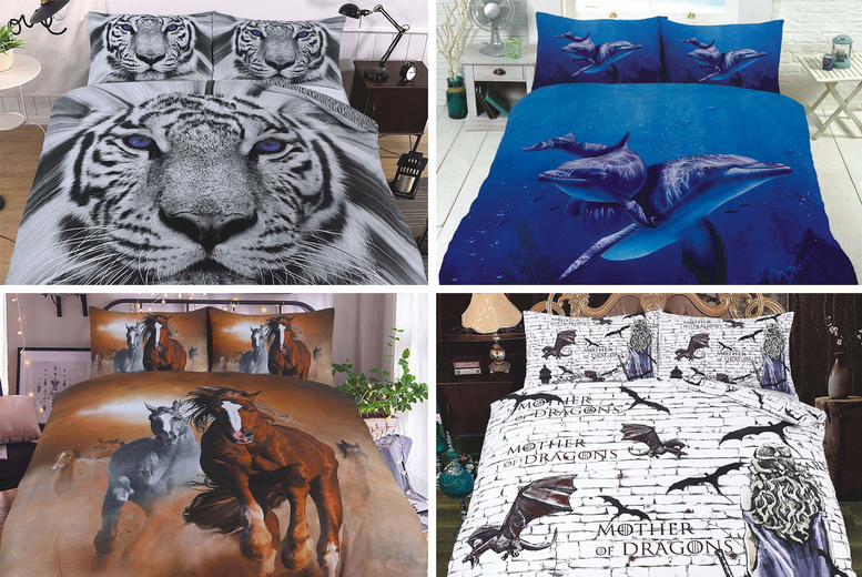 Image of £9.99 instead of £65.99 for a single 3D duvet cover set, £12.99 for a double or £16.99 for a king set from Imperial Beddings - choose your design and save up to 85%
