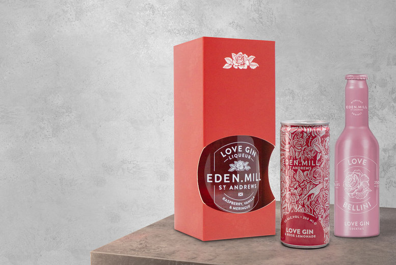 Image of From £13.99 instead of £24.50 for an Eden Mill Love Gin bundle including one 50cl bottle of raspberry, vanilla and meringue liqueur - choose from bundles including Bellinis, Gin and Rose Lemonade and an Eden Mill beanie and save up to 43%