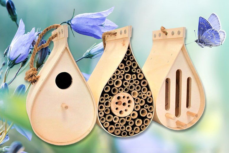 Image of £19.99 instead of £49.99 for a hanging teardrop wildlife sanctuary set including butterfly house, bug hotel and bird box from Anything 4 Home - save 60%
