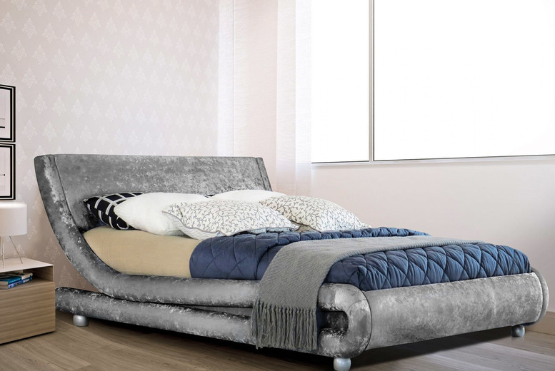 Image of From £169 instead of £599.99 for a Milano crushed velvet LED Bed from UK Furniture 4 U - choose your size, colour, mattress option and save up to 72%