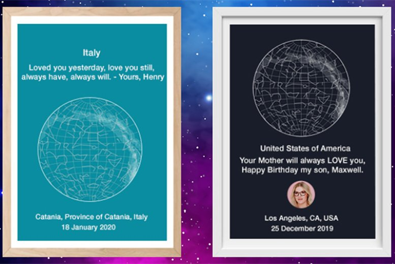 Image of £12.99 instead of £34.99 for a personalised star map from Map Share Online - save 63%