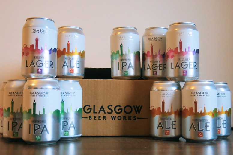 Image of £14 instead of £30 for a mixed case of tasting range beer from Glasgow Beer Works including 12 330ml cans - save 53%