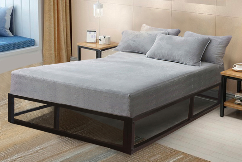Image of From £85 instead of £169 for a single metal minimalist platform bed frame from Modernish Furnishing - choose your size and mattress save up to 50%