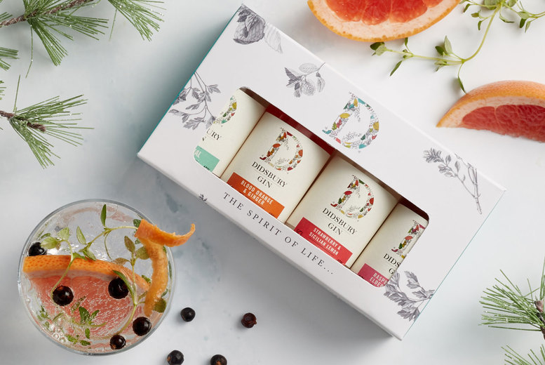 Image of £12.50 for a gin gift box from Didsbury Gin including four 5cl bottles of gin and a tote bag - enjoy award-winning gin as seen on Dragon's Den and save 37%