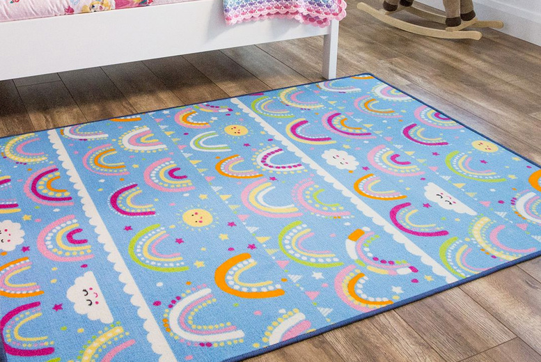 Image of £14.99 instead of £39.95 for a kid's 100 x 140cm rainbow rug or £24.99 for a 133 x 175cm rainbow rug from Kukoon Rugs - save up to 62%
