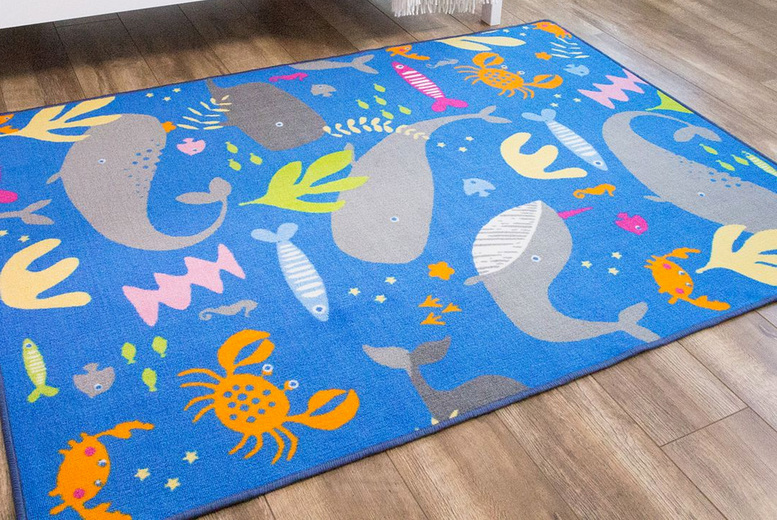 Image of £14.99 for a children's 100x140cm sea life rug, £24.99 for a children's 133x175cm sea life rug from Kukoon Rugs!