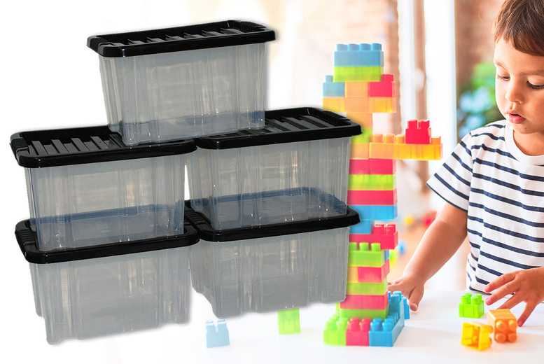 Image of From £19.99 instead of £49.99 for a set of five plastic storage boxes from Anything 4 Home – choose your size and save up to 60%