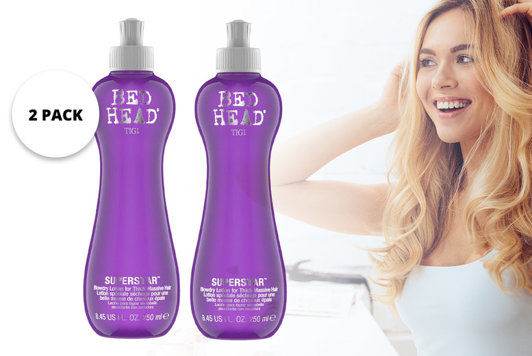 Image of £11.95 instead of £51.99 for a two pack of 250ml Bed Head by Tigi blow dry hair volume lotion for fine hair from Avant Garde - save 77%