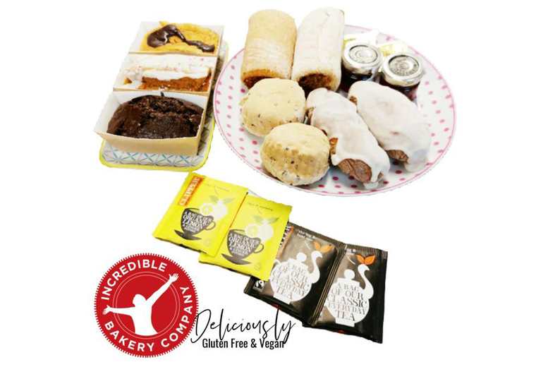 Image of £12 for a vegan and gluten free special afternoon tea for two people from the Incredible Bakery Company - enjoy these sublimely sweet goodies at home!