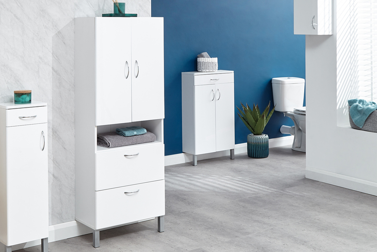 Image of From £39 instead of £60 for a Moritz bathroom cupboard or cabinet in high gloss white – choose from five designs and save up to 35%