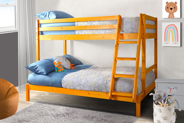 Image of From £199 instead of £699.99 for a Durban wooden triple bunk bed or from £349 for a Durban wooden triple bunk bed with two Kerri mattresses from UKFurniture4U - save up to 72%